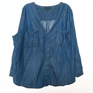 Eloquii Blue Chambray Popover Long Sleeves Top